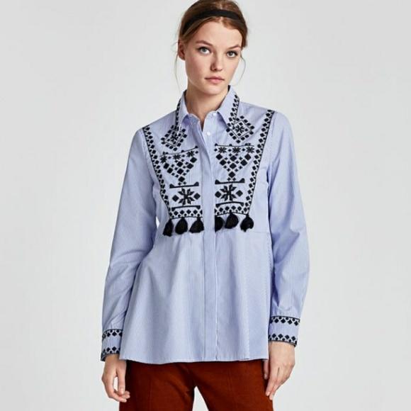 cb35d6ae Zara Woman striped shirt, embroidery & tassels EUC.  M_5b09f8a79d20f0e804d64aa6